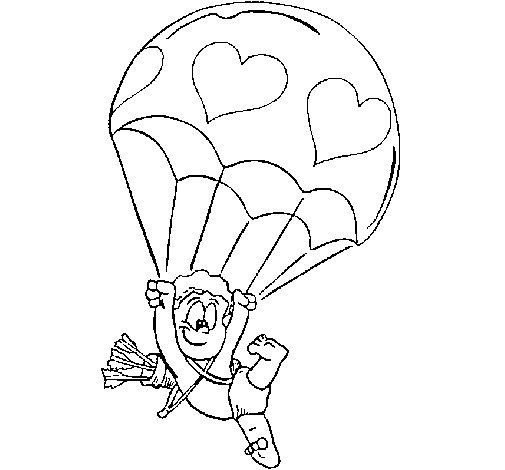 Dibujo de Cupido en paracaídas para Colorear