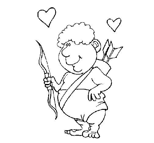 Dibujo de Cupido gracioso para Colorear