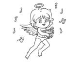 Dibujo de Cupido tocando el arpa