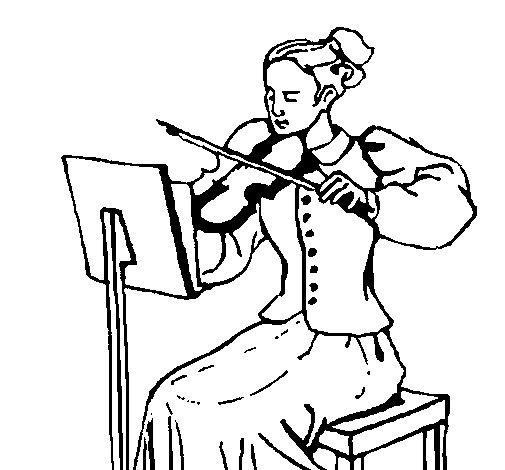 Dibujo de Dama violinista para Colorear