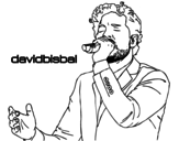 Dibujo de David Bisbal cantando para colorear