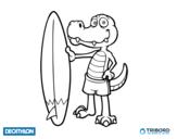 Dibujo de Decathlon - Cocodrilo surfero para colorear