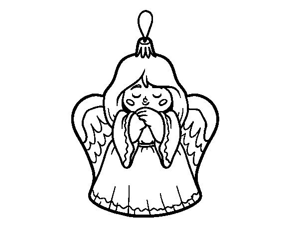 Dibujo de Decoración de Navidad angelito para Colorear