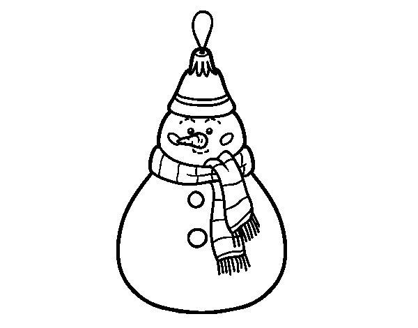 Dibujo de Decoración de Navidad muñeco de nieve para Colorear