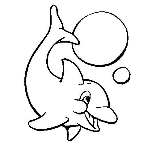 Dibujo de Delfn jugando con una pelota 1 para Colorear  Dibujosnet