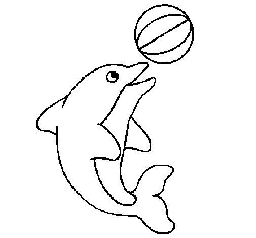 Dibujo de Delfín jugando con una pelota para Colorear