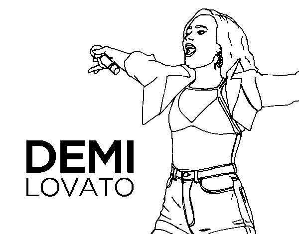 Dibujo de Demi Lovato en concierto para Colorear