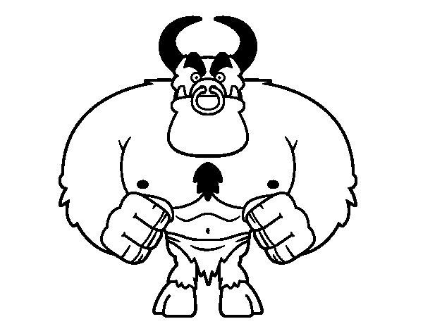 Dibujo de Demonio musculoso para Colorear