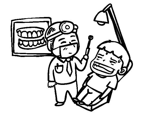 Dibujo de Dentista con paciente para Colorear
