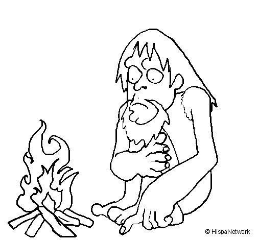 Dibujo de Descubrimiento del fuego para Colorear  Dibujosnet