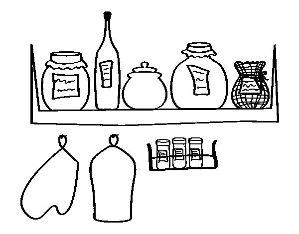 Dibujo de despensa para colorear - Utensilios de cocina para pintar ...
