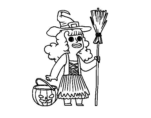 Dibujos Para Colorear De Calabazas De Halloween Para Imprimir: Dibujo De Disfraz De Bruja De Halloween Para Colorear