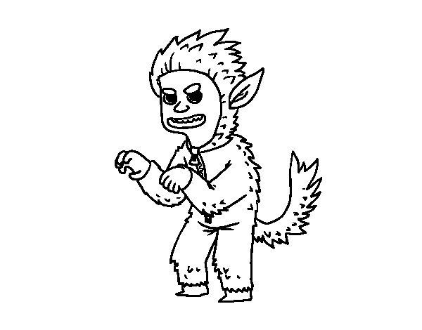 Dibujo de Disfraz de hombre lobo para Colorear  Dibujosnet