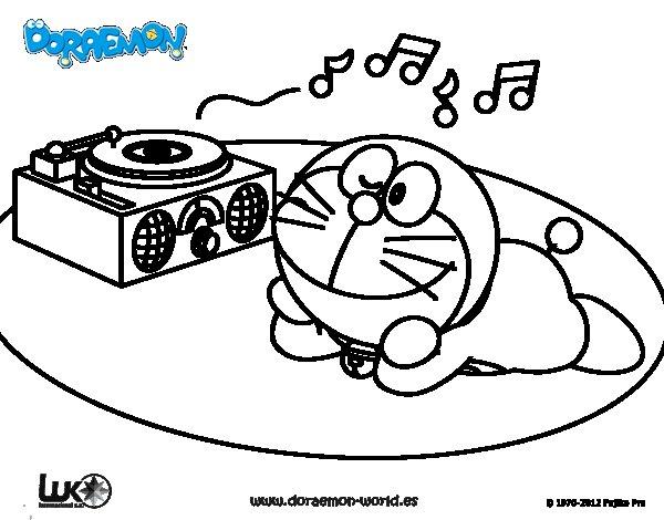 Dibujo de Doraemon escuchando música para Colorear
