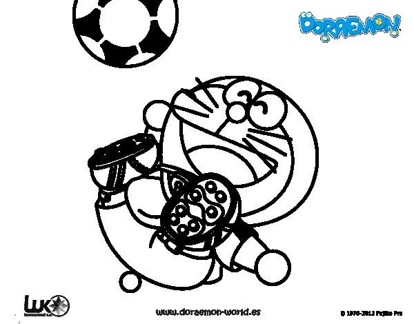 Dibujos Para Colorear E Imprimir De Doraemon: Dibujo De Doraemon Futbolista Para Colorear