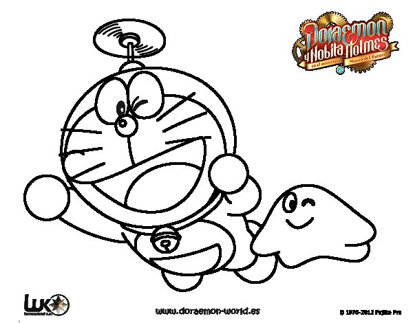 Dibujo de Doraemon volando para Colorear
