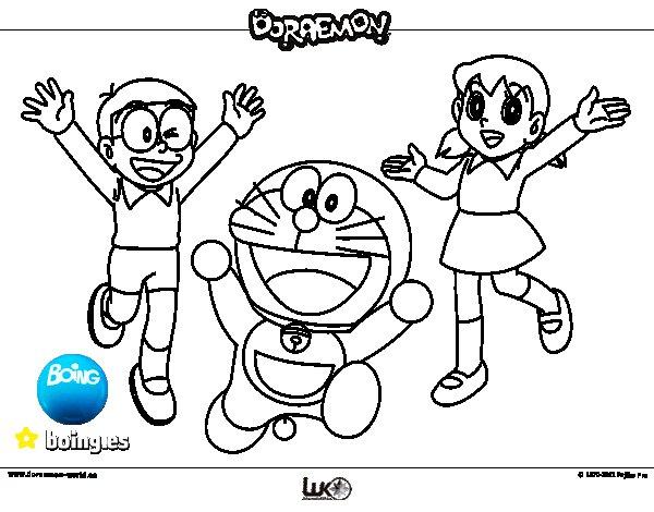 Dibujos Para Colorear Las Amigas Con El Delfin: Dibujo De Doraemon Y Amigos Para Colorear