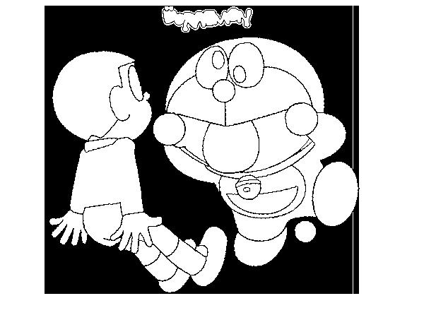 Dibujo de Doraemon y Nobita para Colorear  Dibujosnet