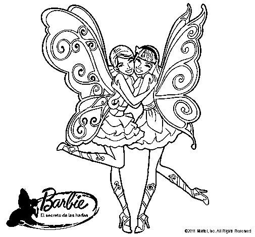Dibujo de Dos hadas abrazadas para Colorear  Dibujosnet