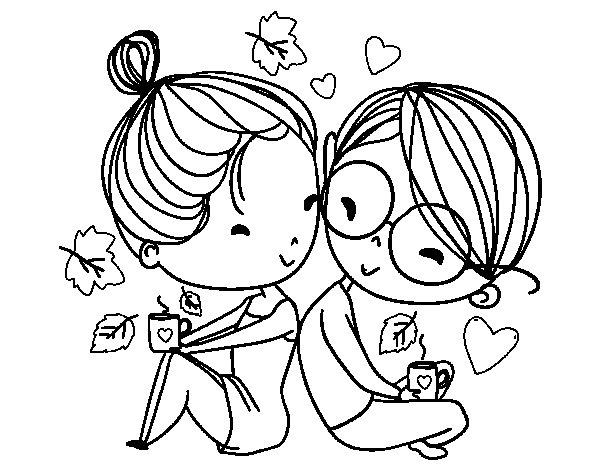 Dibujo de dos j venes enamorados para colorear - Dibujos juveniles para imprimir ...