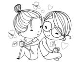 Dibujo de Dos jóvenes enamorados para colorear