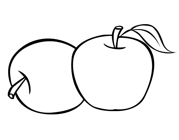 Dibujo de Dos manzanas para Colorear  Dibujosnet