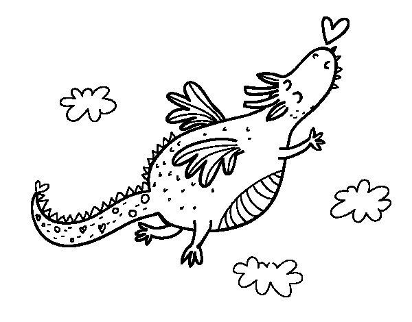 Dibujo de Dragón con corazón para Colorear