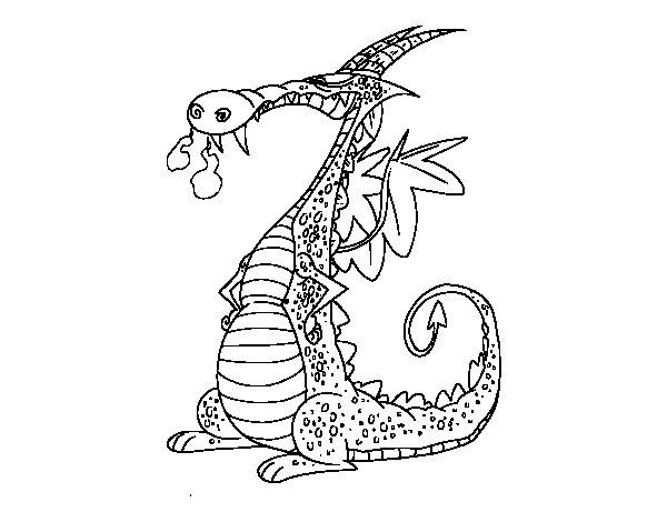 Dibujo de Dragón con humos para Colorear