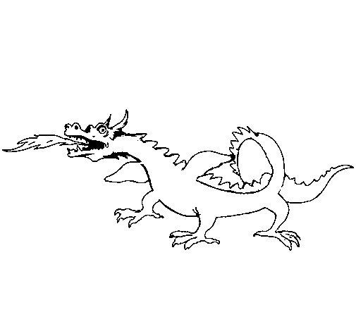 Dibujo de Dragón escupiendo fuego para Colorear