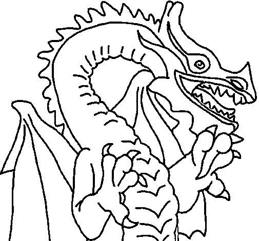 Dibujo de Dragón estilo japonés para Colorear