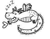 Dibujo de Dragón infantil durmiendo para colorear