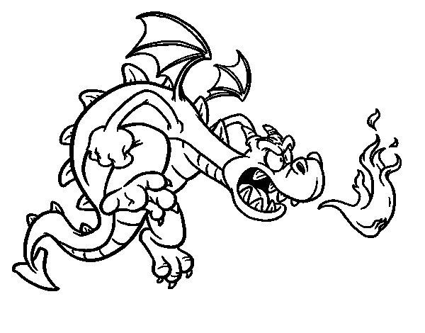 Dibujo De Dragón Malvado Para Colorear
