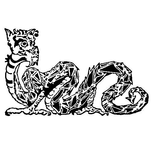 Dibujo de Dragón oriental para Colorear