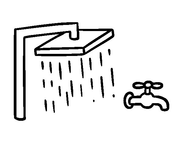Dibujo de ducha y grifo de ba o para colorear for Grifo para tina de bano