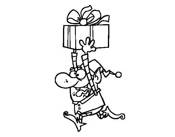 Dibujo de Duende huyendo con un regalo para Colorear