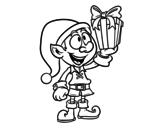 Dibujo de Duendecillo con un regalo para colorear