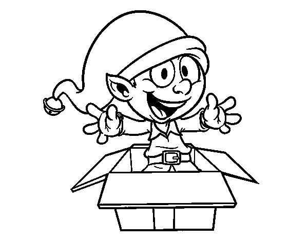 Dibujo de Duendecillo saliendo de un regalo para Colorear