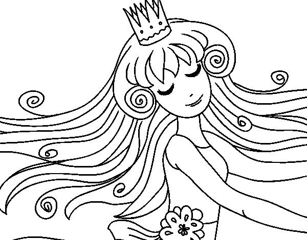 Dibujos De Princesas Para Colorear: Dibujo De Dulce Princesa Para Colorear