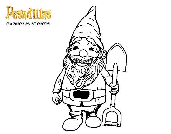 Dibujo de El gnomo de jardín con pala para Colorear