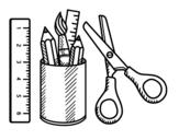 Dibujo de El material escolar para colorear