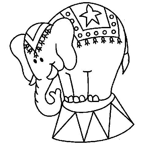 Dibujo de Elefante actuando para Colorear