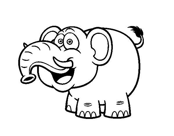 Dibujo de Elefante asiático para Colorear