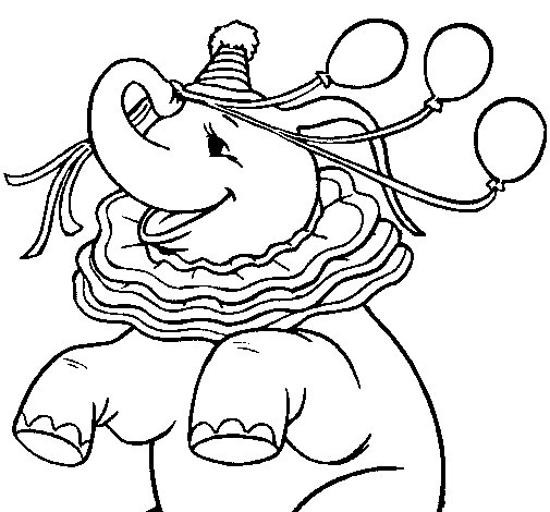 Dibujo de Elefante con 3 globos para Colorear