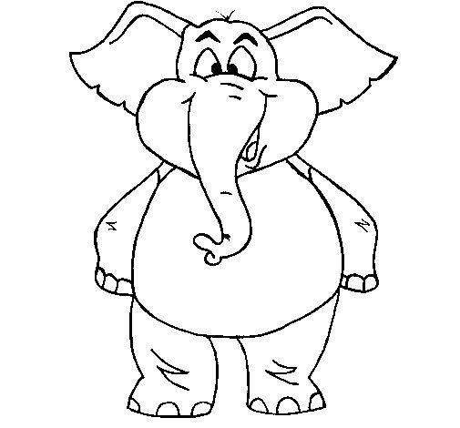Dibujo de Elefante contento para Colorear