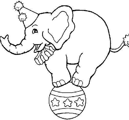Dibujo de Elefante encima de una pelota para Colorear