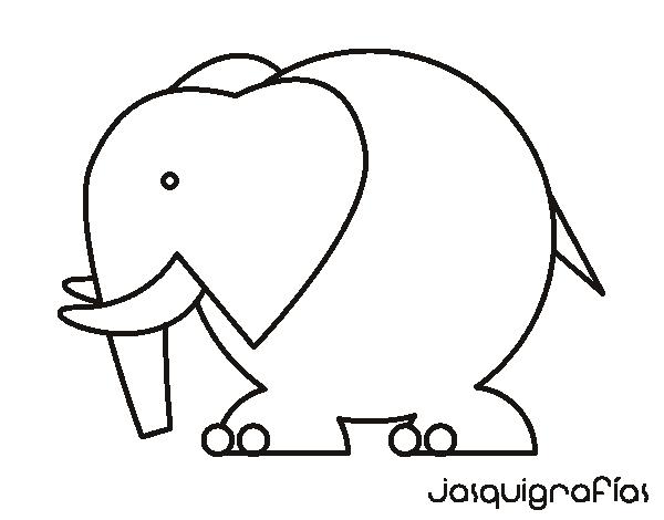 Dibujos Para Colorear De Elefantes Infantiles: Dibujo De Elefante Grande Para Colorear
