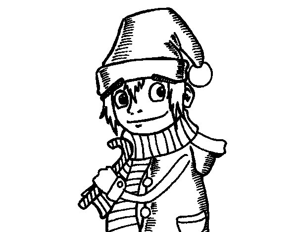 Dibujo de Elfo de Navidad para Colorear