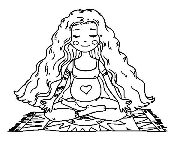 Dibujo de embarazada practicando yoga para colorear - Dibujos de pared para ninos ...