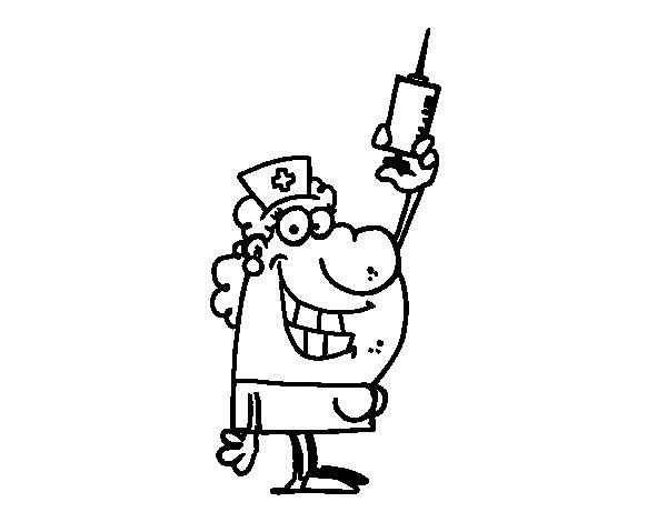 Dibujo de Enfermera con una aguja para Colorear