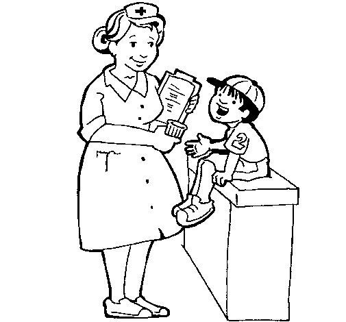 Dibujo de Enfermera y niño para Colorear
